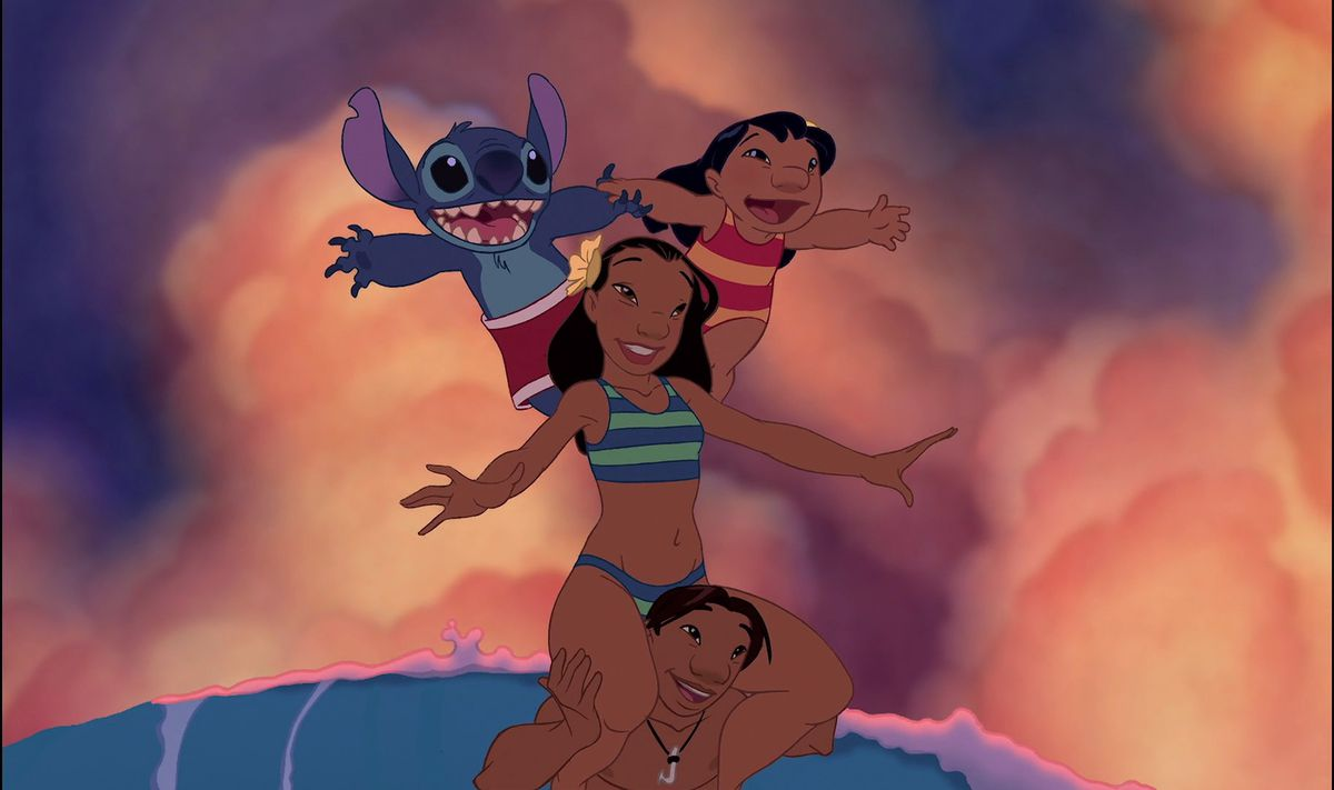 lilo and stitch balancing on nani's shoulders, while nani is balanced on david's shoulders while surfing