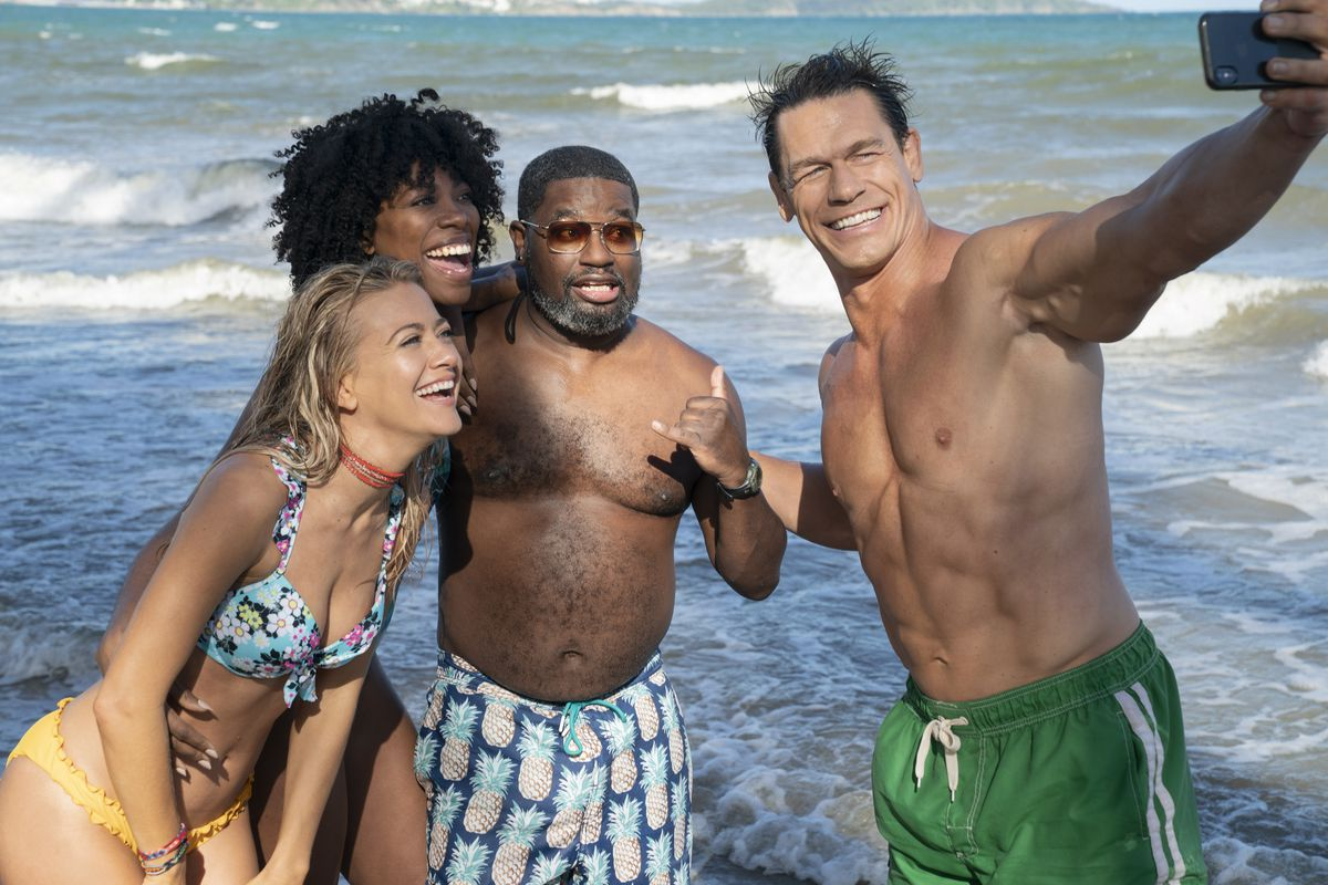 Meredith Hagner as Kyla, Yvonne Orji as Emily, Lil Rel Howery as Marcus and John Cena as Ron take a selfie in Vacation Friends