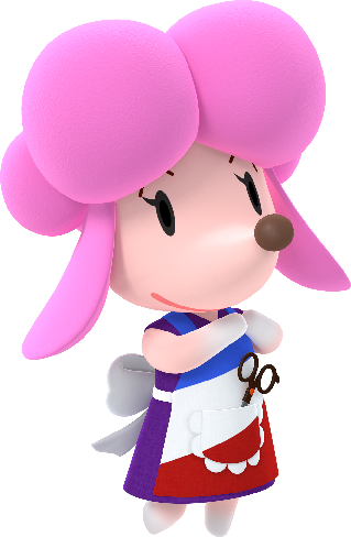 a pink poodle waring an apron