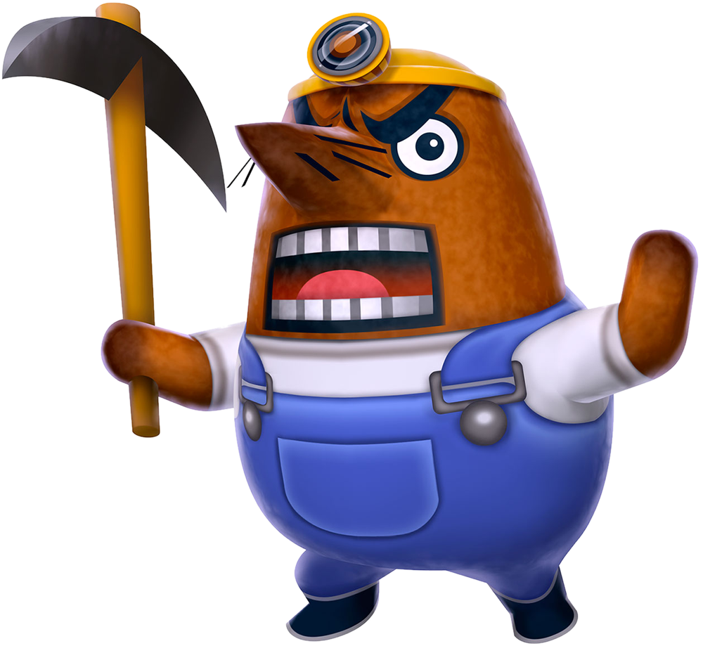 resettle an animal crossing mole looking very angry while holding a pic ax