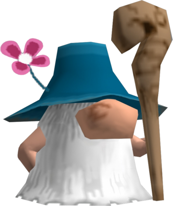 a gnome that has a giant beard and holds a staff