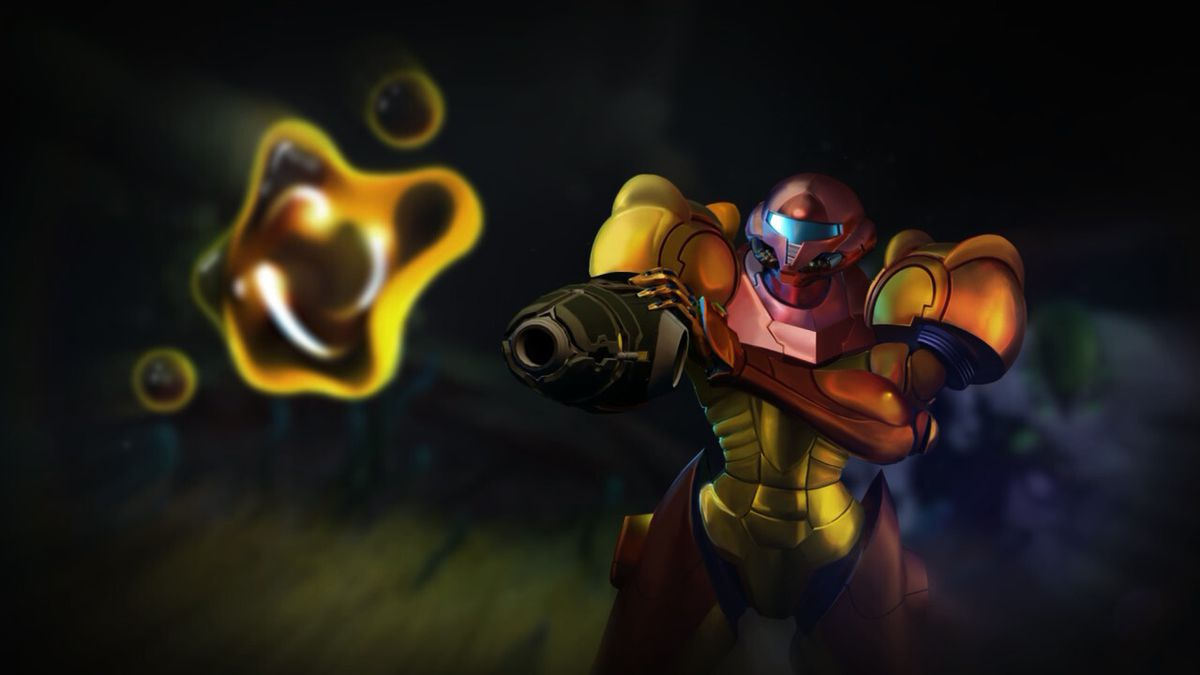 Samus Aran looks at an X Parasite hovering in the air in front of her