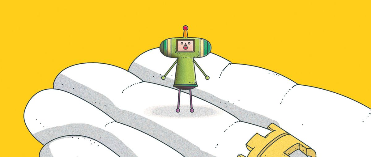 The prince from Katamari stands on a giant hand