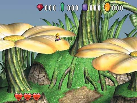 A tiny sized Wario is leaping from one enormous flower to another