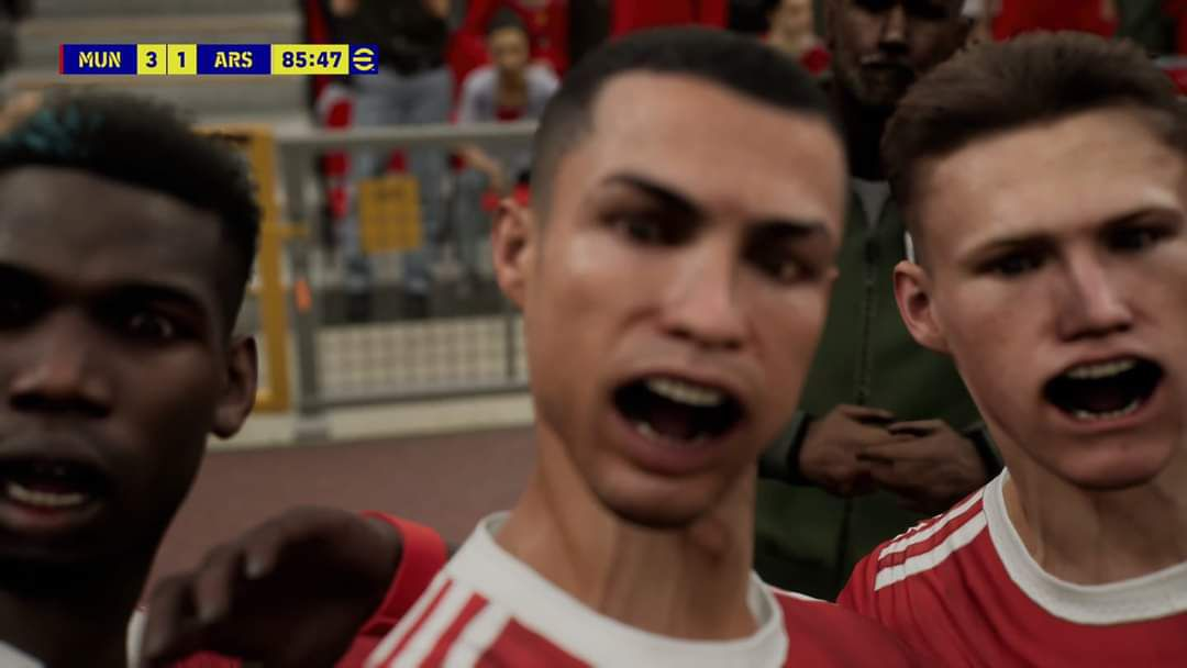 Cristiano Ronaldo's mouth is contorted in a glitched screenshot from eFootball