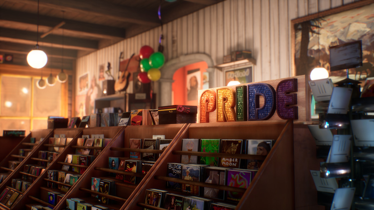 inside the record store, with a pride banner